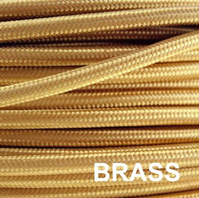 Metal Braided 6 Amp Mains Electrical Cable - BRASS FINISH